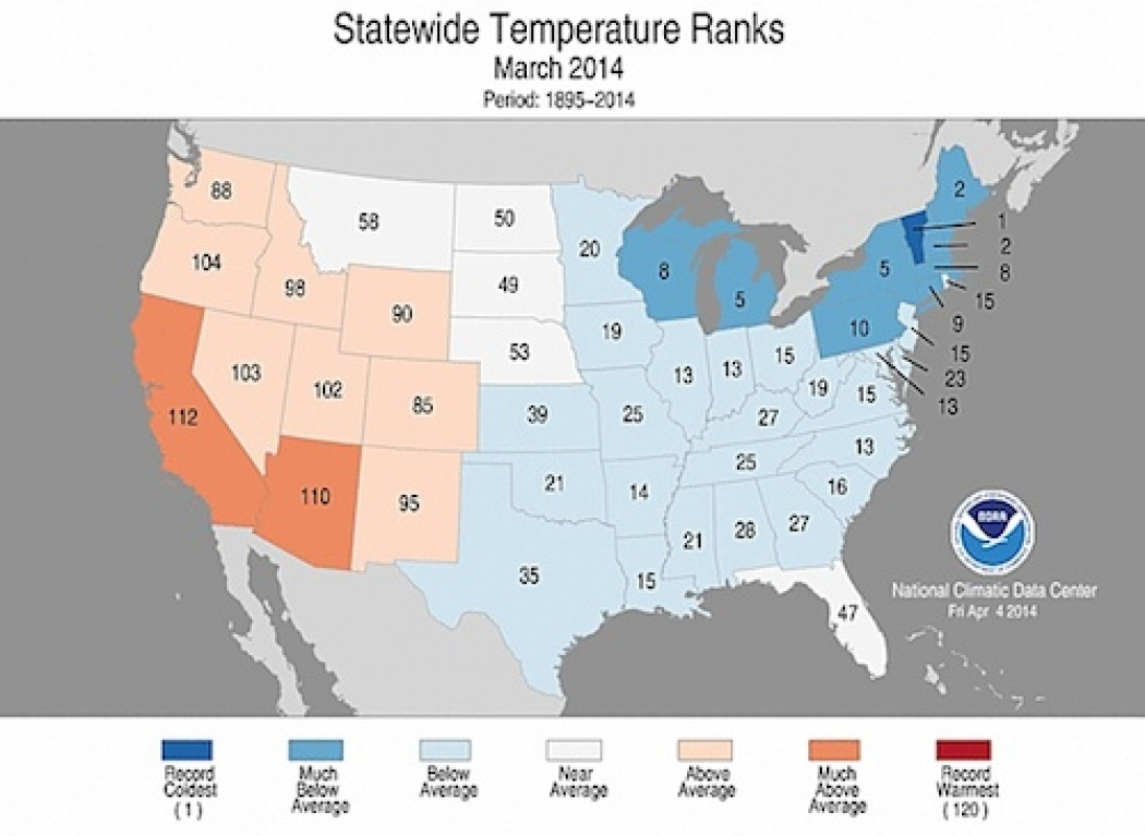 March Was Coldest in U.S. Since 2002 | Climate Central