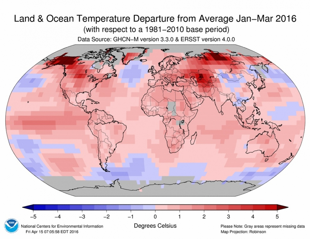 March continues streak of exceptional global warmth climate central temperature departures from average for the planet for the period from january through march 2016 click image to enlarge credit noaa publicscrutiny