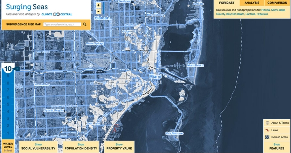 What Does U S  Look Like With 10 Feet of Sea Level Rise? | Climate