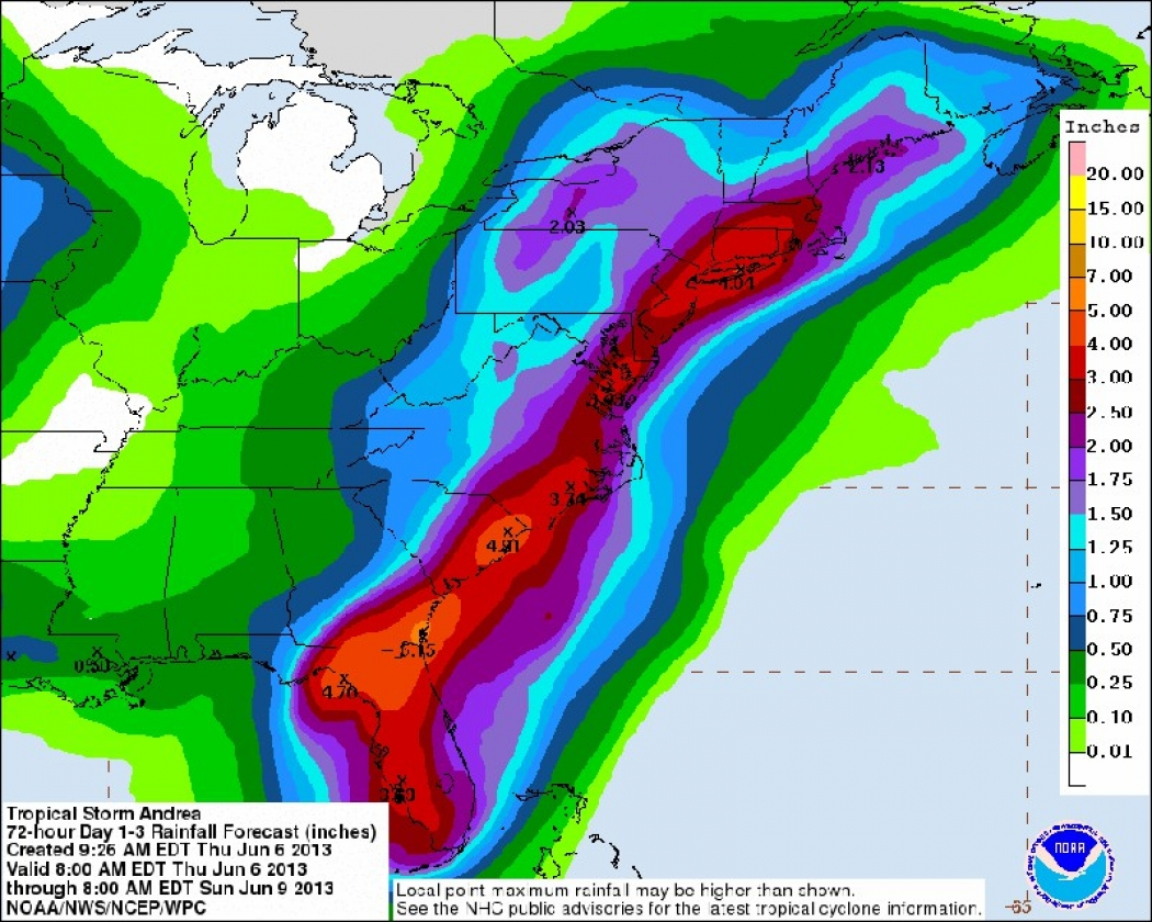 Florida To Maine Map.Tropical Storm Andrea Pelts Florida Threatens Flooding Climate