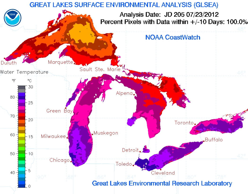 Great Lakes Water Temperatures At Record Levels