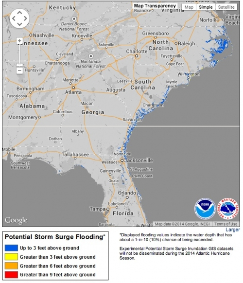 New Storm Surge Maps Debut With TS Arthur   Climate Central on noaa storm surge sandy, noaa storm surge prediction, 2003 tropical storm tracking maps, noaa sea level rise maps,