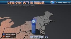 Washington: August Days over 90 Degrees