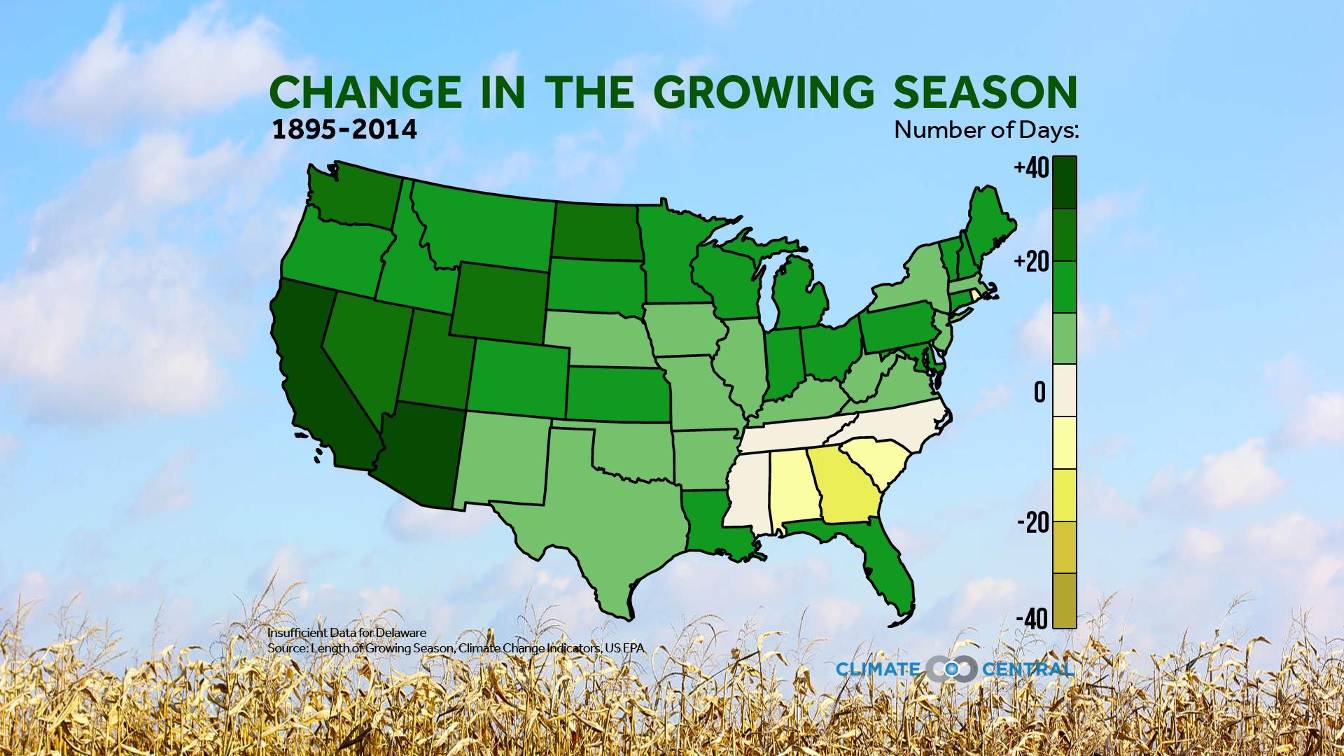 Growing Season Map Change in the Growing Season | Climate Central Growing Season Map