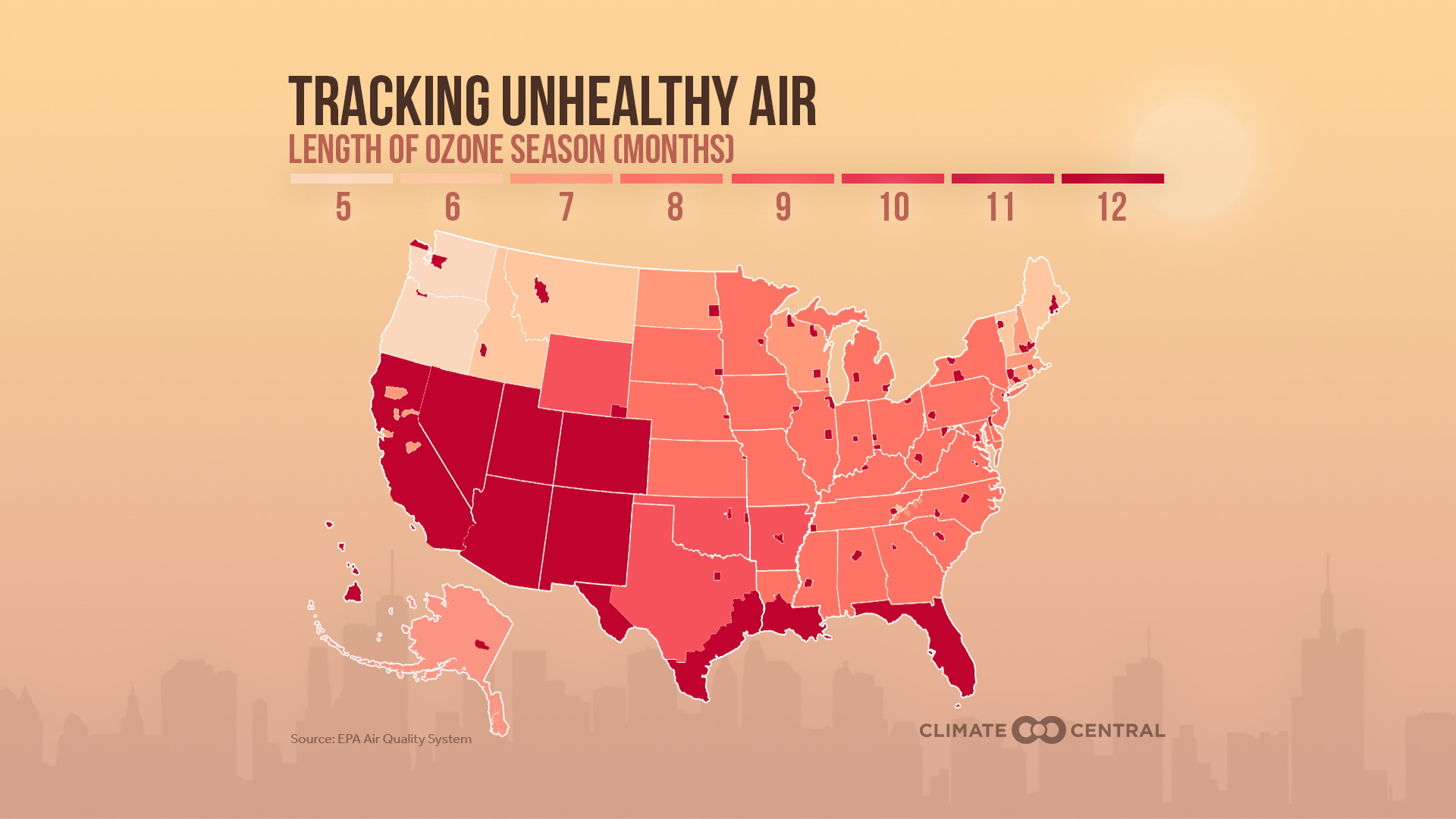 Ozone Season Lengths Across the Country