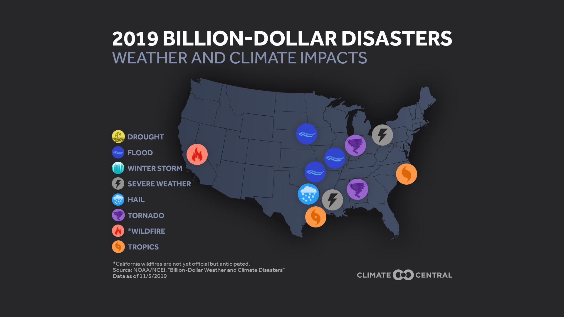 2019 Billion Dollar Disasters: Weather and Climate Impacts Map