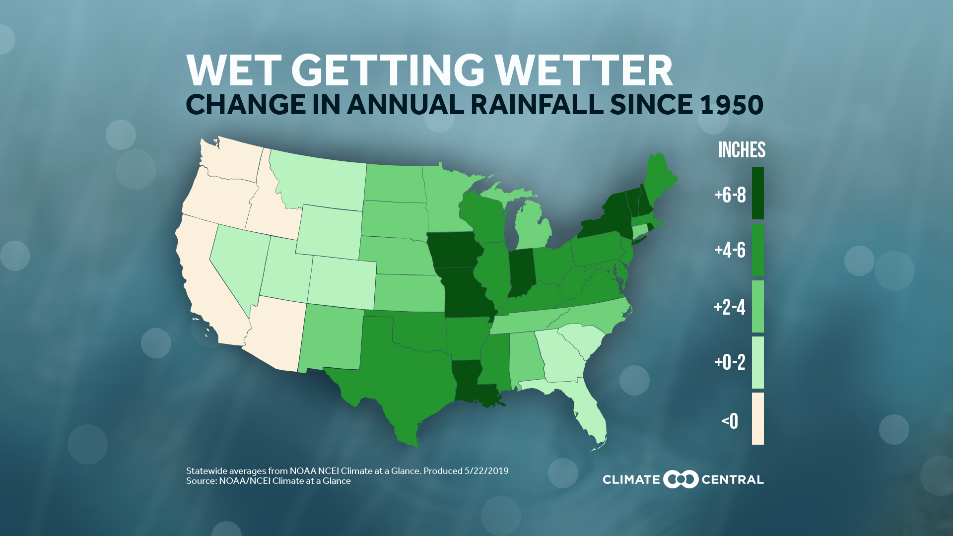 Annual Rainfall Increasing in Most U.S. States