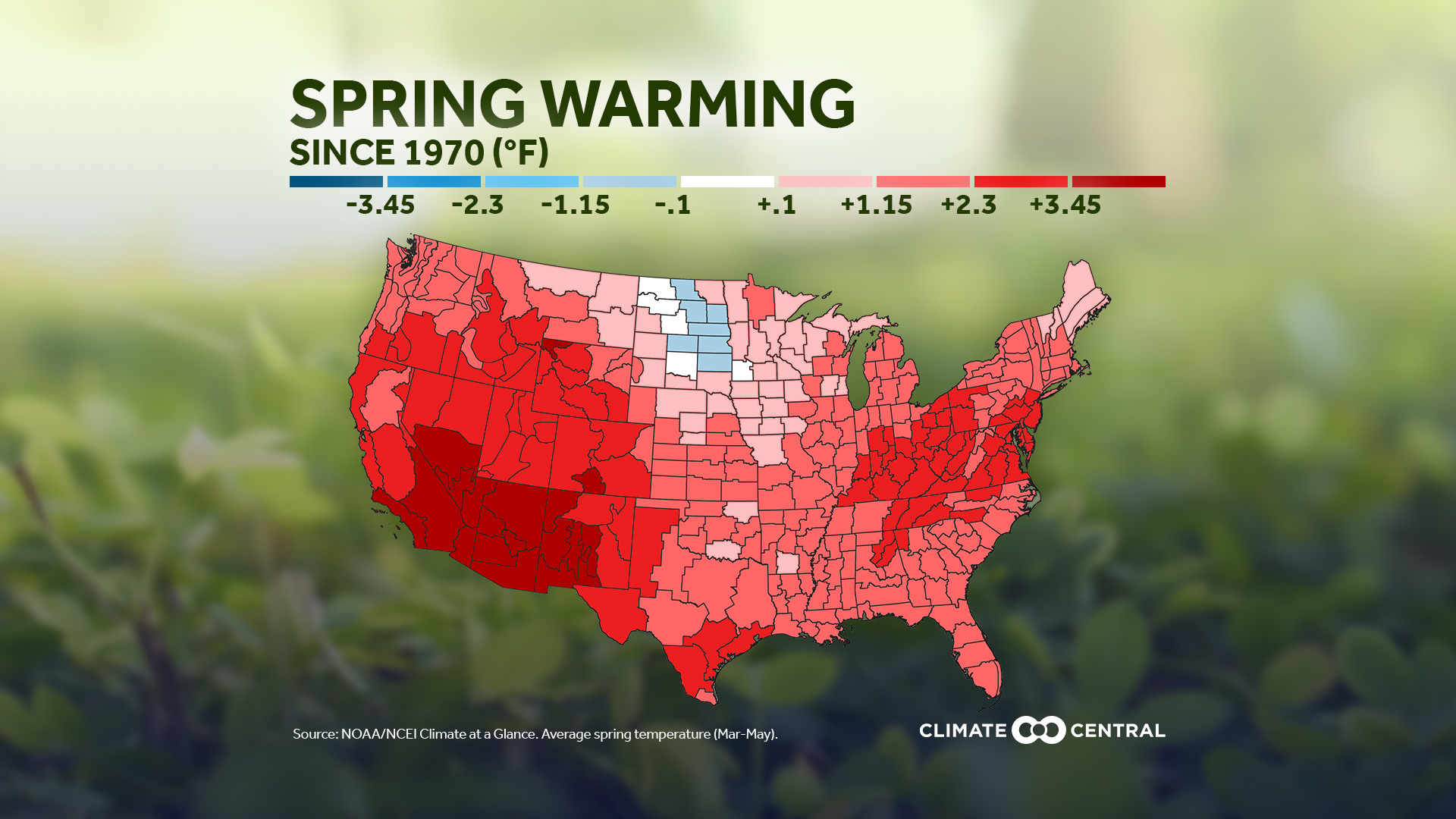 National: Spring Climate Division Temperature Map (2020)