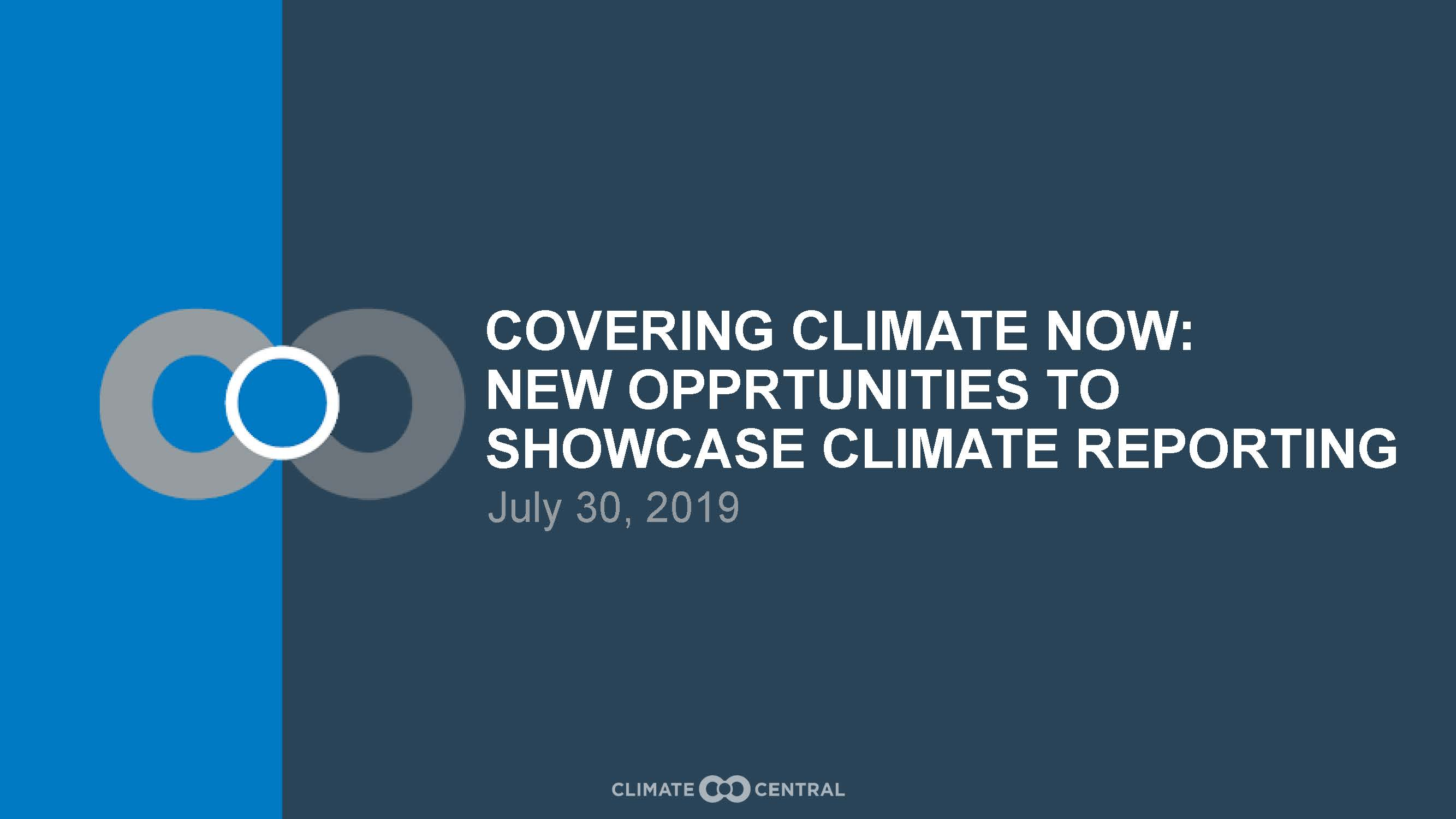 Covering Climate Now – New Opportunities to Showcase Climate Reporting