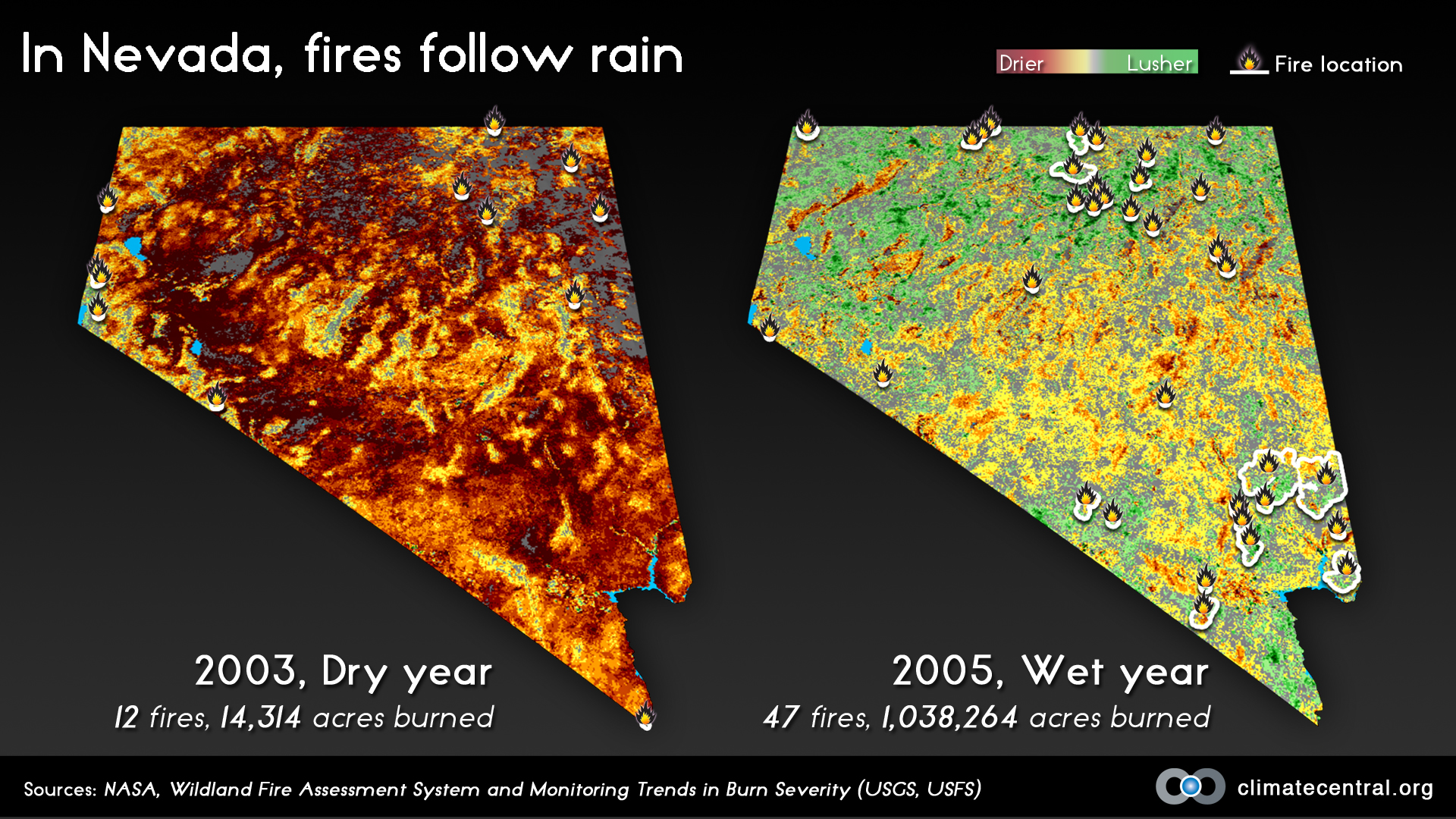 In Nevada, Fires Follow Rain