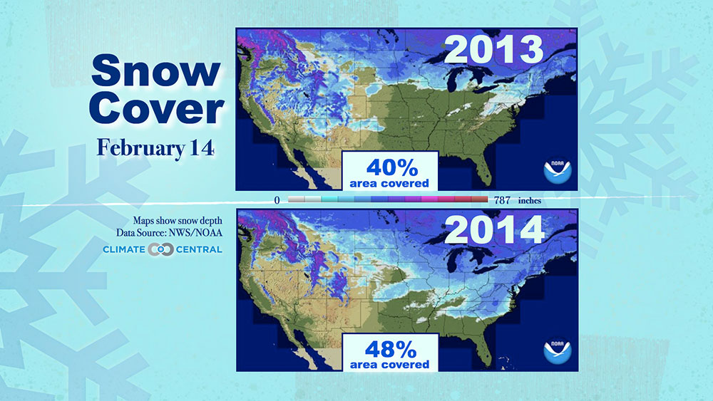 Valentine\'s Day Snow Cover | Climate Central