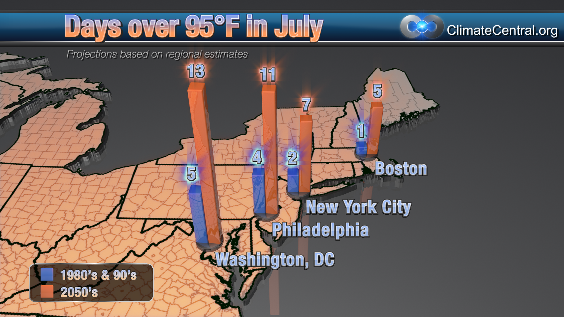 Northeast: July Days Over 95 Degrees